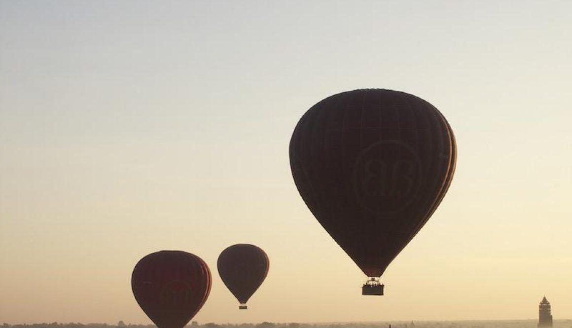 Hot Air Balloon overlooking the 2200 temples and pagodas at Bagan every morning.