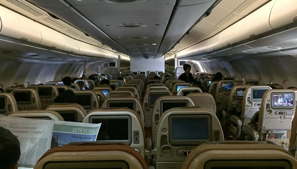 SQ SIN CAN Economy Class View from the back